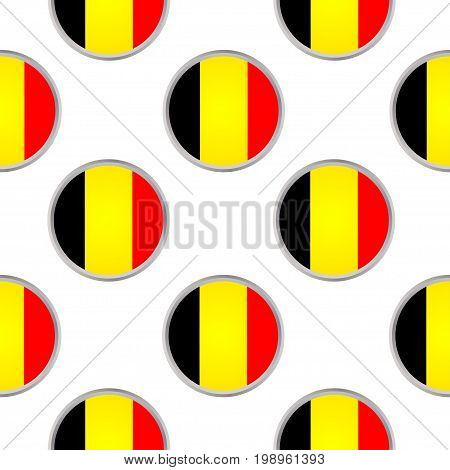 Seamless pattern from the circles with Belgium flag. Vector illustration