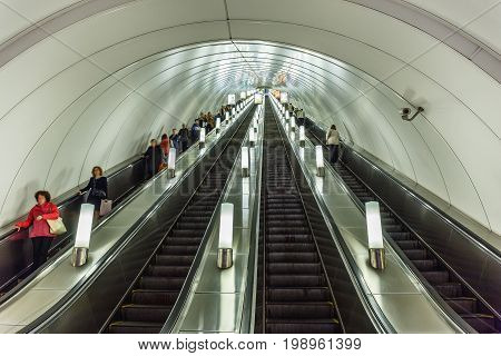Saint Petersburg, RUSSIA - May 30, 2017: Metro in St. Petersburg, People go on the escalator in St Petersburg metro