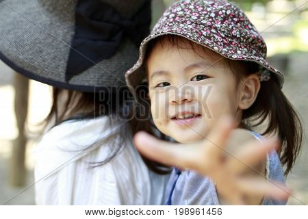 Japanese Girl Carried In Her Mother's Back (2 Years Old)