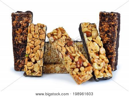 Chocolate Muesli Bars isolated on white background.