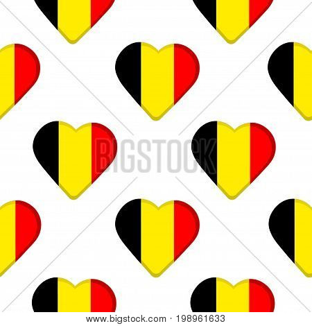 Seamless pattern from the hearts with Belgium flag. Vector illustration