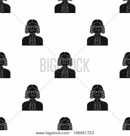 A judge in a wig and glasses. A person who makes a verdict to a criminal.Prison single icon in black style vector symbol stock web illustration.