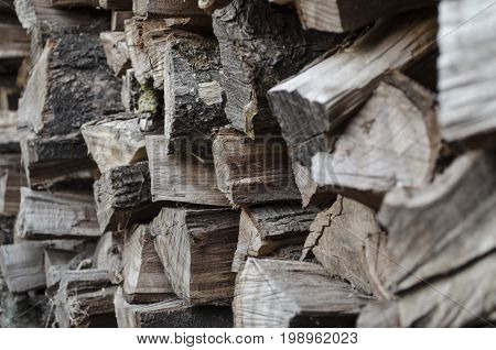 Pile of firewood. A stack of firewood stacked in a row