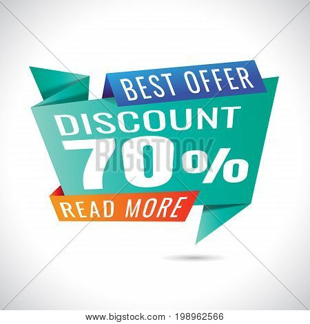 best offer read more Sale Banner Design on white background. sale. 70% Discount . Vector