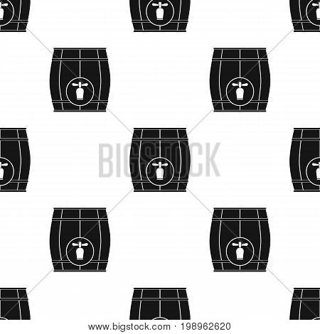 Wooden barrel with a tap icon in black design isolated on white background. Pub symbol stock vector illustration.