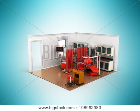 Isometric Dentist Office Red 3D Rendering On Blue Background