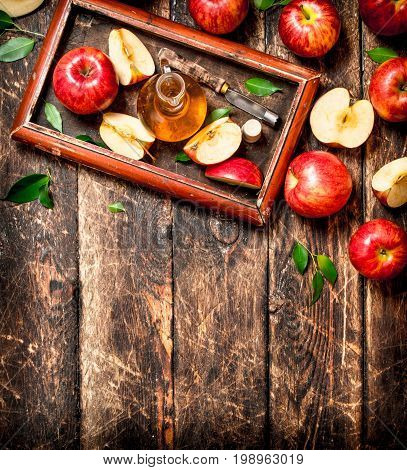 Apple Cider Vinegar, Red Apples In The Old Tray .