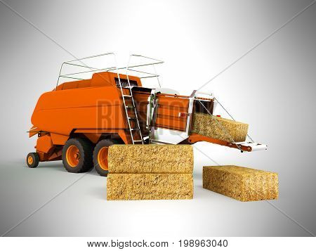Press Baler Hay Bales Orange 3D Render On Gray Background