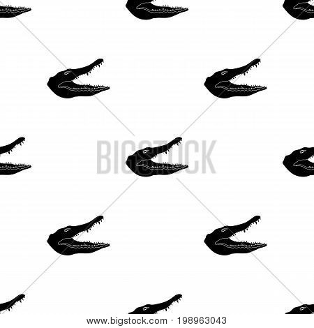 Crocodile icon in black design isolated on white background. Realistic animals symbol stock vector illustration.