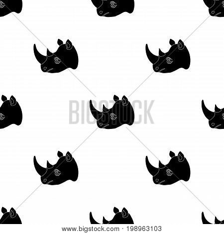 Rhinoceros icon in black design isolated on white background. Realistic animals symbol stock vector illustration.