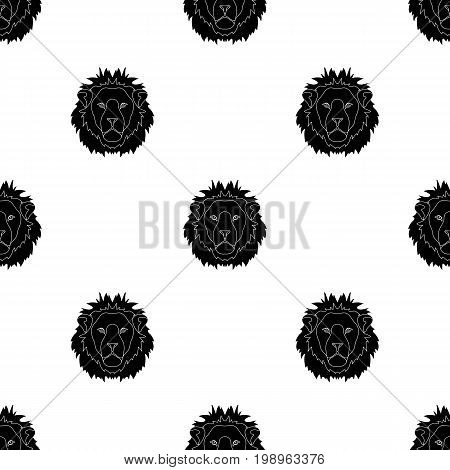 Lion icon in black design isolated on white background. Realistic animals symbol stock vector illustration.