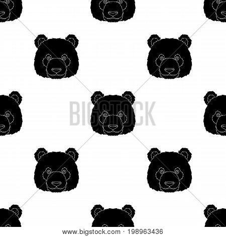 Panda icon in black design isolated on white background. Realistic animals symbol stock vector illustration.