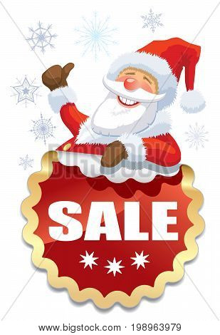 Smiling Santa Claus with red sticker for Christmas sale
