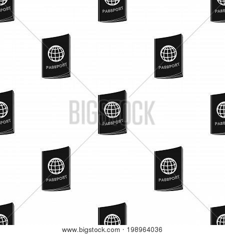 Passport icon in black design isolated on white background. Rest and travel symbol stock vector illustration.