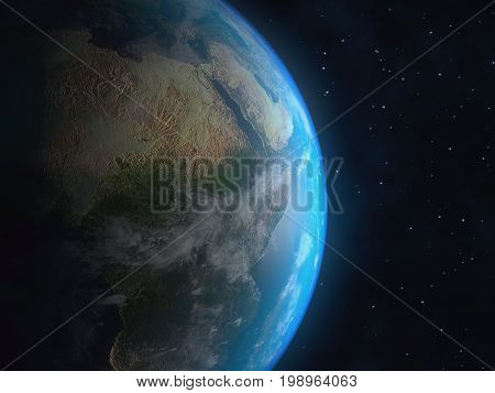 Realistic 3D Earth globe crescent with atmosphere. Elements of this image furnished by NASA