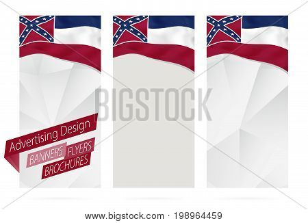 Design Of Banners, Flyers, Brochures With Mississippi State Flag.