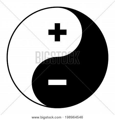 Yin yang symbol of harmony and balance plus minus.