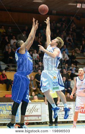 KAPOSVAR, HUNGARY - FEBRUARY 26: Joshua Wilson (20) in action at a Hungarian National Championship basketball game Kaposvar vs Albacomp on February 26, 2011 in Kaposvar.