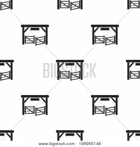 Paddock gate icon in black design isolated on white background. Rodeo symbol stock vector illustration.