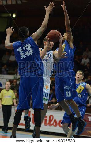 KAPOSVAR, HUNGARY - FEBRUARY 26: Mate Medve (10) in action at a Hungarian National Championship basketball game Kaposvar vs Albacomp on February 26, 2011 in Kaposvar.