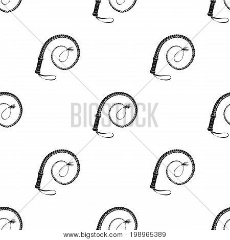 Whip icon in black design isolated on white background. Rodeo symbol stock vector illustration.