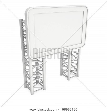 LCD Screen Stand. Blank Trade Show Booth with truss girder element. 3d render of lcd screen isolated on white background. High Resolution. Ad template for your expo design.