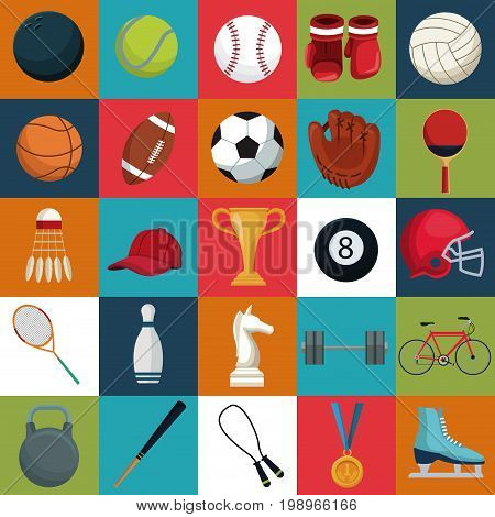colorful square background with set collection elements sport vector illustration