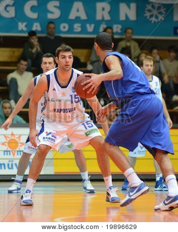 KAPOSVAR, HUNGARY - FEBRUARY 26: Daniel Werner (15) in action at a Hungarian National Championship basketball game Kaposvar vs Albacomp on February 26, 2011 in Kaposvar, Hungary.