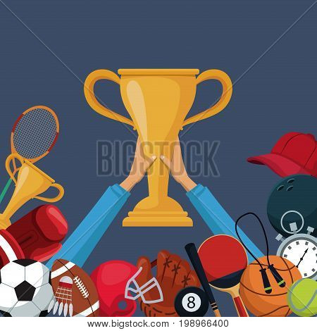 color background with hands holding up a golden trophy cup with border down of icons elements sport vector illustration