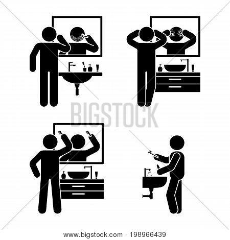 Personal hygiene bathroom set. Vector illustration of teeth brushing washing face shaving combing hair pictogram