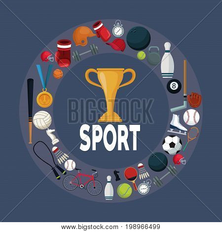 color background with golden trophy cup in center with circular border around with icons elements sport vector illustration