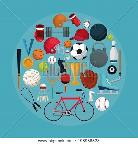 color background with circular frame of set collection elements sport vector illustration