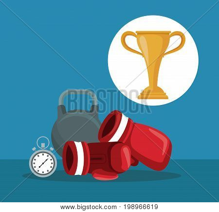 color background with elements boxing kettlebell and chronometer with circular frame cup trophy vector illustration