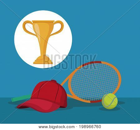 color background with elements tennis sport with circular frame cup trophy vector illustration