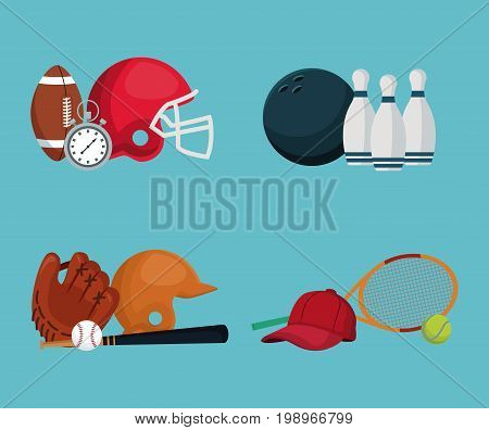 color background with set elements different sports vector illustration