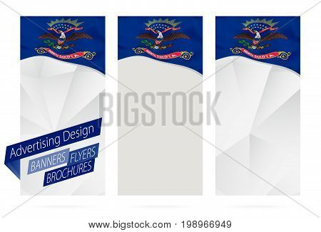 Design Of Banners, Flyers, Brochures With North Dakota State Flag.