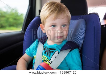 Little boy is seating in the car safety seat