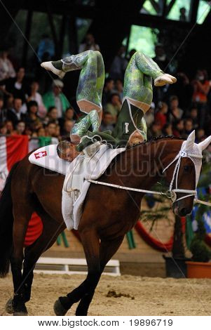 KAPOSVAR, HUNGARY - AUGUST 12: Swiss competitors in action at the Vaulting World Championship Final on August 12, 2007 in Kaposvar, Hungary.