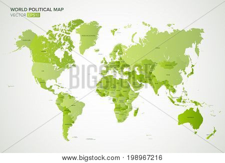 Vector political map with the names of all countries in green gradient color, vector illustration