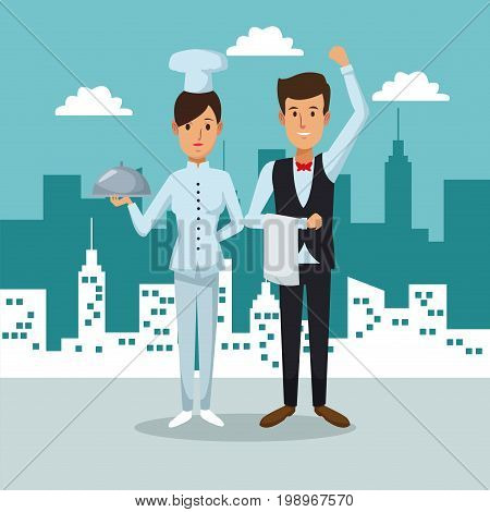 city landscape background with full body couple woman chef and waiter vector illustration