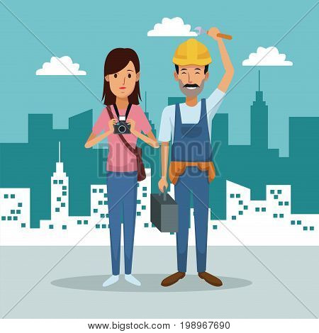 city landscape background with full body couple woman photograph and workman vector illustration
