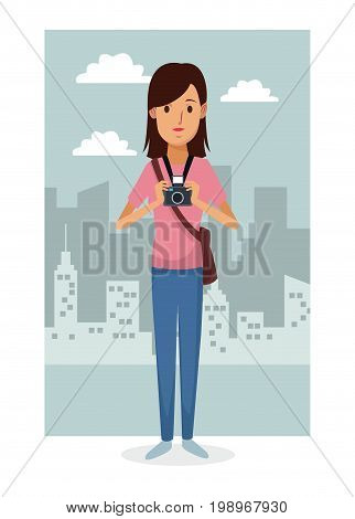 monochrome city landscape frame background with colorful full body woman photograph vector illustration