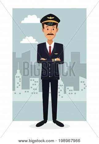 monochrome city landscape frame background with colorful full body bearded man pilot vector illustration