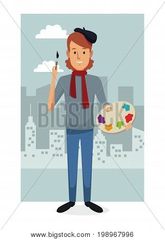 monochrome city landscape frame background with colorful full body man artist vector illustration