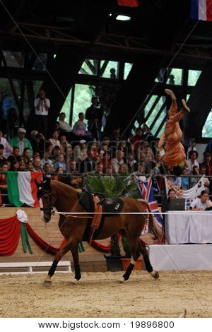 KAPOSVAR, HUNGARY - AUGUST 12: Nicolas Andreani (FRA) in action at the Vaulting World Championship Final on August 12, 2007 in Kaposvar, Hungary.