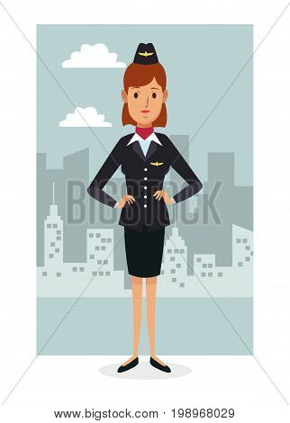 monochrome city landscape frame background with colorful full body woman stewardess vector illustration