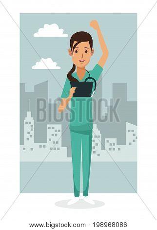 monochrome city landscape frame background with colorful full body nurse female vector illustration
