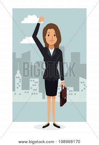 monochrome city landscape frame background with colorful full body businesswoman vector illustration