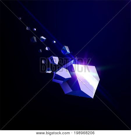Falling beauty stone, sapphire, space debris, blue collapsing asteroid, vector 3D illustration. Isolated unusual logo template.