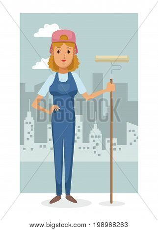 monochrome city landscape frame background with colorful full body woman artist vector illustration